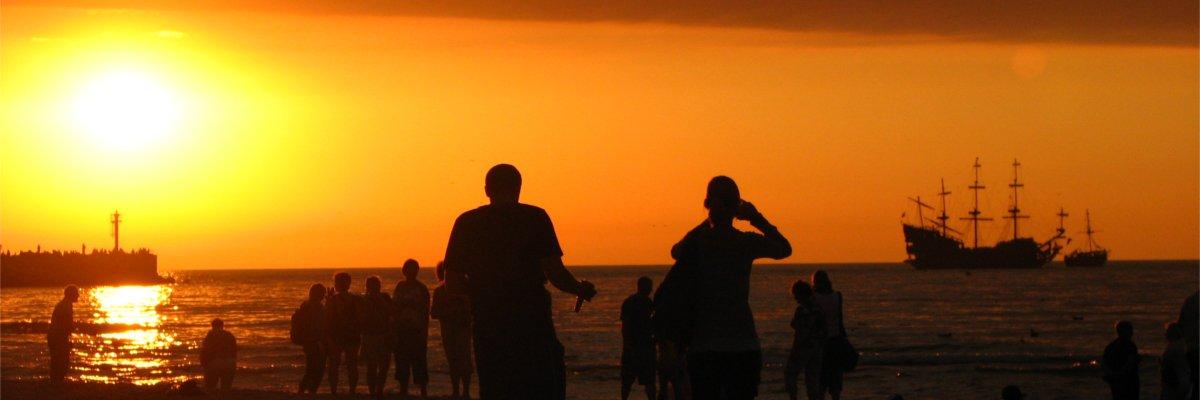 Zachód słońca - plaża w Ustce